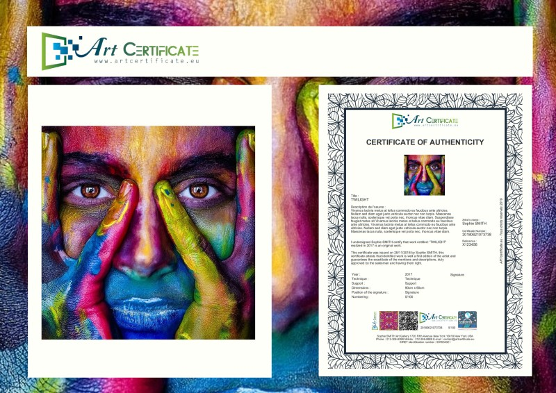 Certificate of authenticity paint