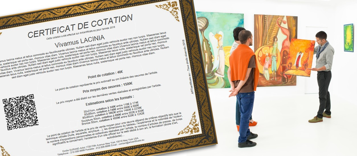 COTATION CERTIFICATE<br />Print your rating