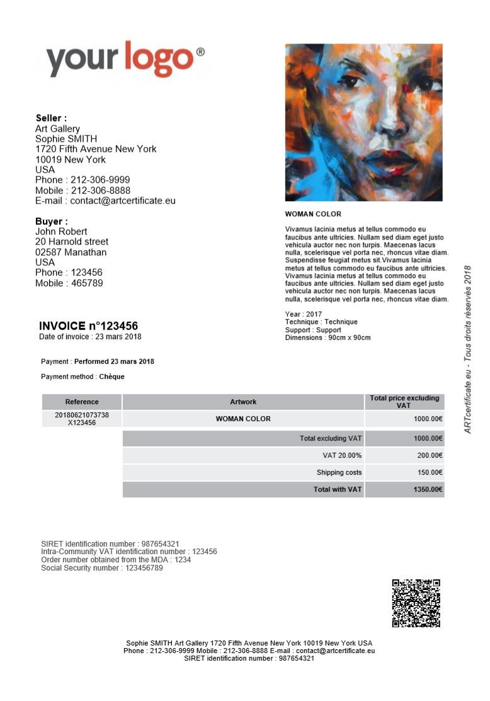 facture de ventepour vos acheteurs certificat d 39 authenticit artcertificate. Black Bedroom Furniture Sets. Home Design Ideas