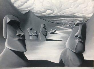 Moai - Monochrome -(70/40cm)
