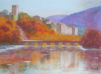 Le pont de Montclus (pastel sur toile)