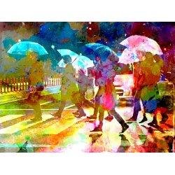 Sous la pluie dans la ville
