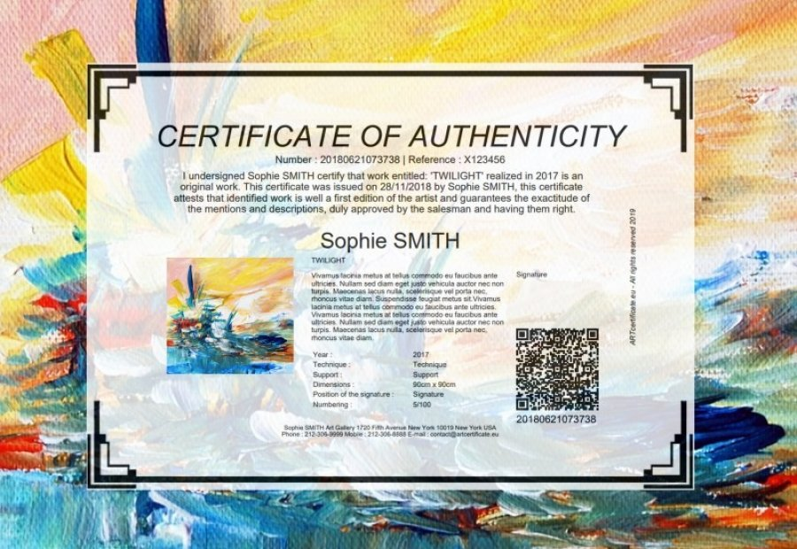Certificat d'authenticité art