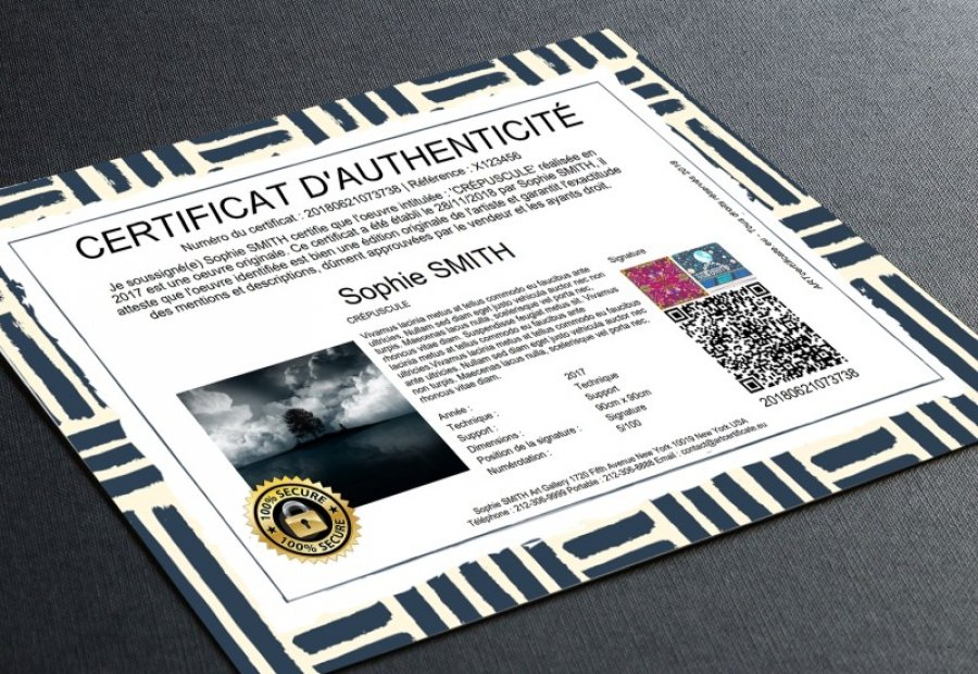 Certificat d'authenticité sculpture