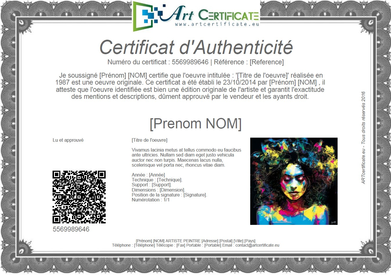 Example of a Certificate of Authenticity